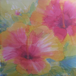 Silk Painting Pink Hibiscus