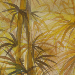 Silk Painting Bamboo Path